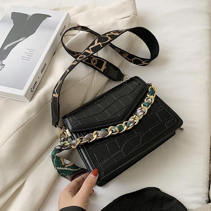 Без бренда / Женская классическая сумка кросс-боди рептилия через плечо на два отдела на широком ремешке с цепочкой черная