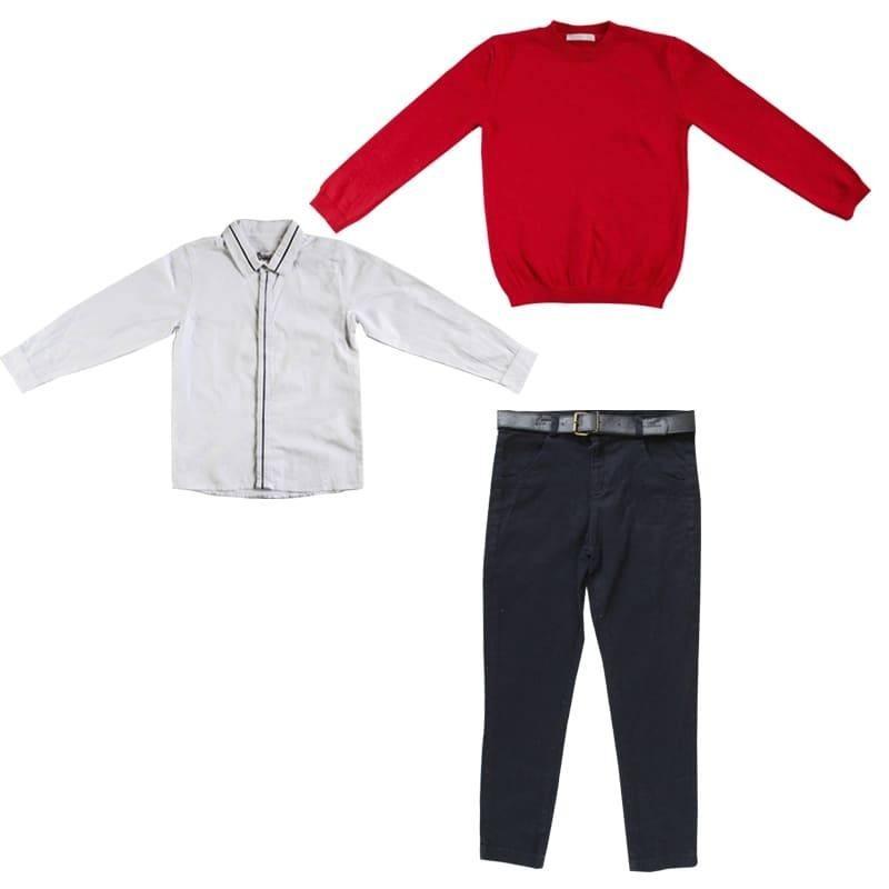 Комплект (рубашка+пуловер+джинсы+пояс) Monna Rosa Milano 20836 Красный/Белый/Синий 134-140 см
