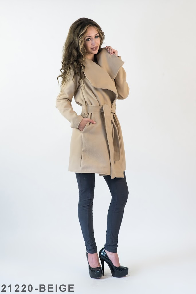 Женское пальто Подіум Jessy 21220-BEIGE L-XXL Бежевый