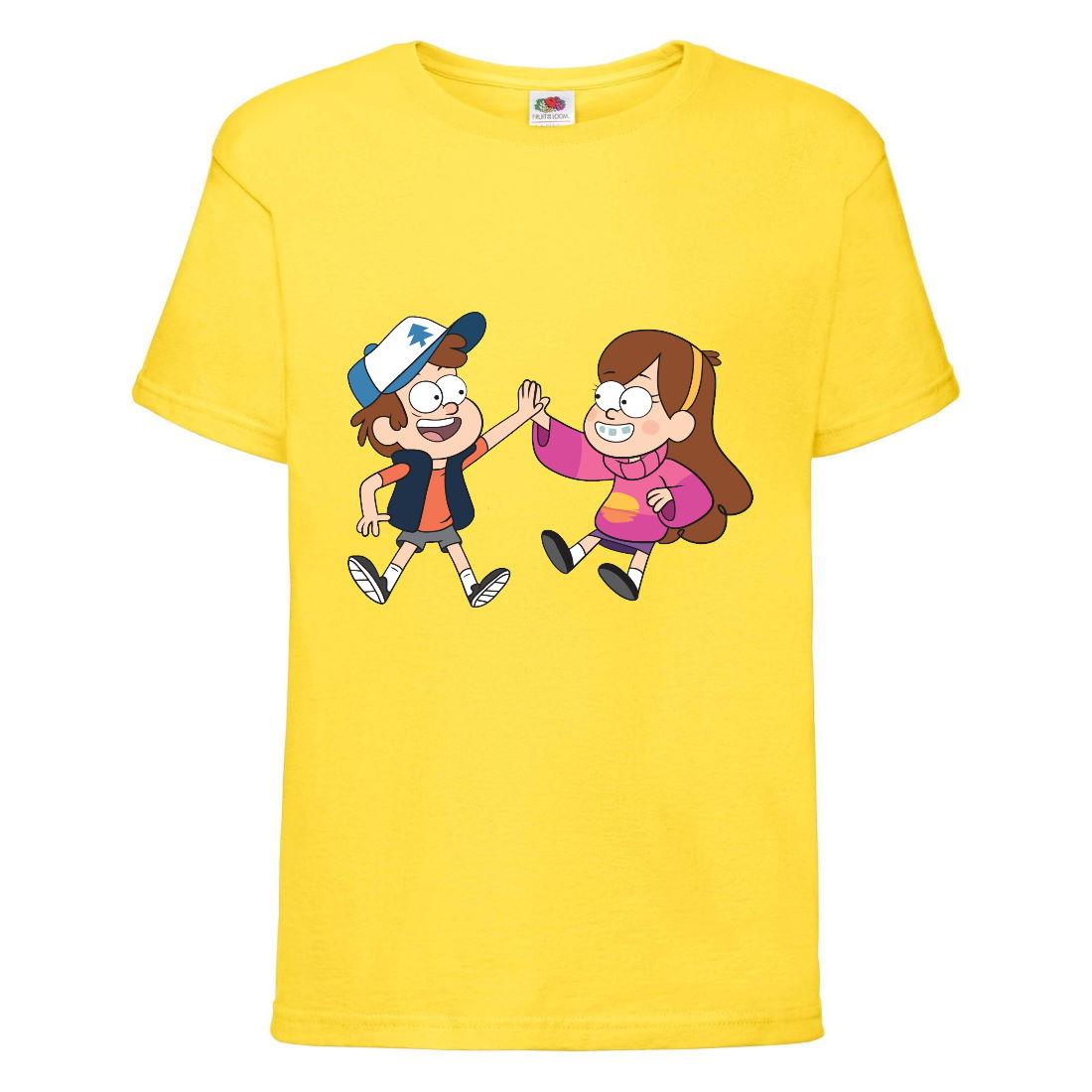 Футболка детская Гравити Фолз Мэйб и Диппер 11 (Gravity Falls Mayb and Dipper 11) желтая (GF yl-05) 152 см