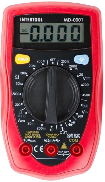 Мультиметр цифровий Intertool CAT II-300В/CAT I-600В (MD-0001)
