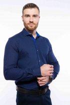 Рубашка мужская с мелким принтом Time of Style 204P1163 L Чернильно-голубой - изображение 1