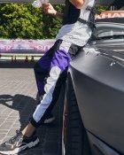 Теплые спортивные штаны Over Drive Split черно-белые с фиолетовым XS - изображение 3