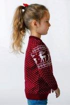 Светр Різдвяний з оленями дівчинці FLEUR Lingerie 104 бордовий - зображення 2