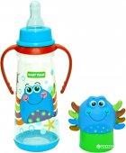 Бутылочка для кормления с силиконовой соской Baby Team с ручками 0+ 250 мл Крабик (1414_Крабик) - изображение 1