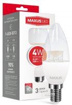 Світлодіодна лампа Maxus C37 CL-С 4W 3000K 220V E14 (1-LED-5313) - зображення 1