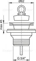 """Донный клапан для умывальника ALCA PLAST 5/4"""" с нержавеющей решеткой D63 (8594045933475) - изображение 2"""