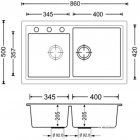 Кухонная мойка APELL Pietra Plus 860x500 PTPL862GW - изображение 2