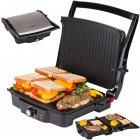 Електричний прижимний гриль-тостер, барбекю для м'яса, овочів, паніні закритий контактний 2000 Вт Сріблясто-чорний First (FA-5344-1) - зображення 3