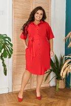 Платье-рубашка летнее большого размера с кружевом из гипюра So StyleM 56-58 Красный 1277-2 - изображение 1