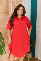 Платье-рубашка летнее большого размера с кружевом из гипюра So StyleM 56-58 Красный 1277-2 - изображение 3