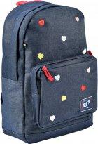 Рюкзак молодежный YES T-67 Hearts женский 0.4 кг 32x41x13 см 17 л Синий (558279) - изображение 1