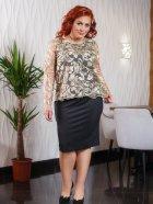 Костюм (платье + блуза) DNKA с41385 50 Черный с бежевым (2000000449692) - изображение 1