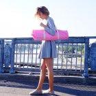 Сумка-чехол для йога коврика Foyo Pink 67x16 см Розовый с молочными ручками (01082) - изображение 2
