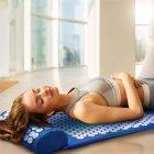 Килимок + подушка (валик) аплікатор Кузнєцова Масажний масажер для спини/ніг OSPORT (apl-011) Синій - зображення 1
