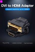 Переходник Vention HDMI F - DVI M Черный (ECDB0) - изображение 2