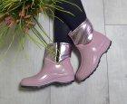 Ботинки полусапожки W-shoes 119bz резиновые непромокаемые утепленные флисом по всей длине розовые женские 37р. (23,5 см) b-217 - изображение 2