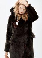 Пальто зі штучного хутра molliolli LIU COAT, M, чорне, MW9WCT04X - зображення 5