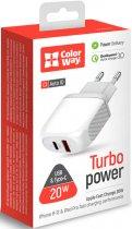 Сетевое зарядное устройство ColorWay (Type-C PD + USB QC3.0) 3.0А 20W White (CW-CHS024QPD-WT) - изображение 7