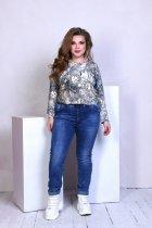 Джинсы женские стрейч котон потертые пояс резинка шнуровка Miss Podium Синий 50 - изображение 1