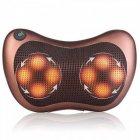 Массажная Подушка Инфракрасный роликовий массажер Massage Pillow для шеи и спины коричневая - изображение 4