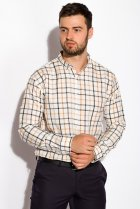 Рубашка в клетку Time of Style 511F047 S Серо-бежевый - изображение 3