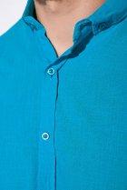 Деловая однотонная рубашкка Time of Style 511F018 XXXL Бирюзовый - изображение 5