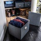 Коробка с крышкой IKEA TJOG 32x31x30 см темно-серый 204.776.71 - зображення 4