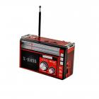 Аудио система с Bluetooth аккумуляторный ретро радиоприемник колонка с радио и USB выходом и фонариком Красный Golon (RX-381BT) - изображение 4