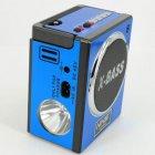Аккумуляторный радиоприёмник колонка с USB SD фонариком, цифровым FM тюнером Синий NNS (NS-904U) - изображение 3