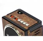 Акумуляторний радіоприймач колонка з USB SD ліхтариком, цифровим FM тюнером Коричневий NNS (NS-904U) - зображення 4
