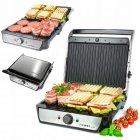 Притискної електричний гриль-тостер, барбекю для м'яса, овочів, паніні контактний закритий 2000 Вт Сріблясто-чорний First (FA-5344-2) - зображення 2