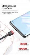 Кабель USB to Type-C (1m) 3A Quick Charge дата провід швидкої зарядки і синхронізації телефону для смартфона KUULAA Data Charger 3.0 (KL-X26) Green - зображення 7