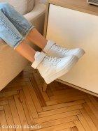 Высокие кеды на липучке Shoozi bench кожаные 36 белые - изображение 3