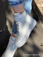 Высокие кеды на липучке Shoozi bench кожаные 36 белые - изображение 5