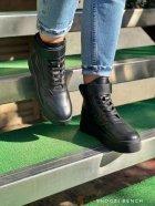 Высокие кеды на липучке Shoozi bench кожаные 40 черные - изображение 1