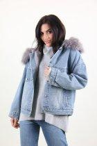 Куртка женская M.J. 1021 искусственный мех (Синий M/L) - изображение 2