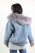 Куртка женская M.J. 1021 искусственный мех (Синий M/L) - изображение 6