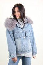 Куртка женская M.J. 1021 искусственный мех (Синий M/L) - изображение 7
