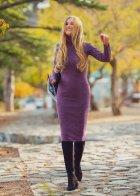 Трикотажное платье футляр ENME 09081-600 L Фиолетовый - изображение 1