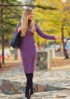 Трикотажное платье футляр ENME 09081-600 L Фиолетовый - изображение 5